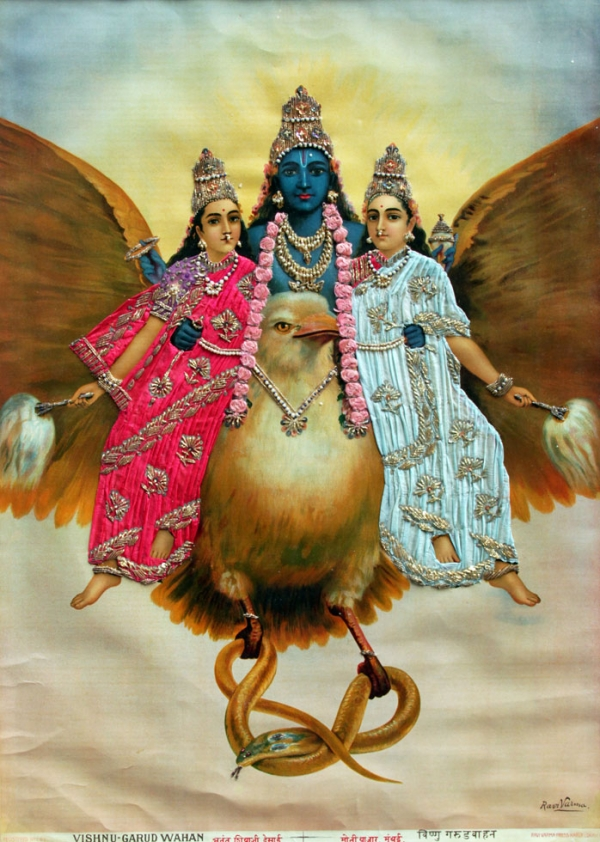 Vishnu garud wahan paper ink fabric metallic thread ravi varma press karla lonavla - Images of hindu gods and goddesses ...