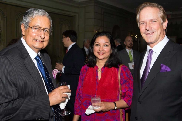 L to R: Awards Dinner benefactors Victor and Tara Menezes with Asia Society Vice President of External Affairs Shayne Doty. (Bennet Cobliner)