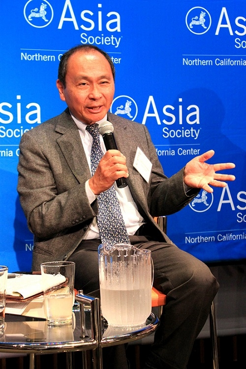 "Francis Fukuyama speaking at an ASNC event to launch his new book, ""Political Order and Political Decay"" (Asia Society)"