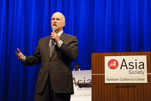 California Governor Jerry Brown welcomed guests at the launch event for Asia Society's new report (Lisa Sze Photography)