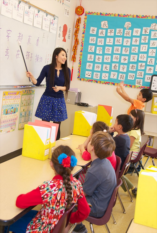 Wang Laoshi's first grade Chinese class. (Chinese American International School)
