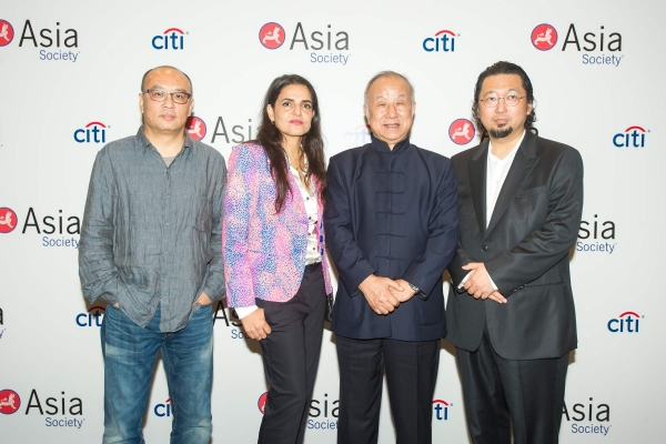 (L to R) Zhang Xiaogang, Bharti Kher, Liu Guosong, and Takashi Murakami at Asia Society's second annual Art Gala on May 12, 2014. (Asia Society Hong Kong Center)