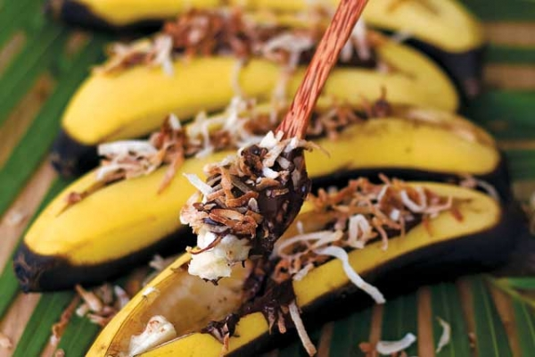 Grilled Bananas with Chocolate and Toasted Coconut Flakes (Photo by Jaden Hair)