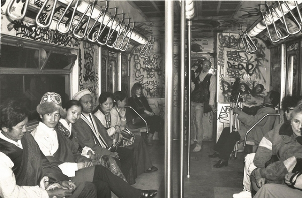 Tibetan dance troupe rides New York subway in 1987 (Barry Bryant/Samaya Foundation)