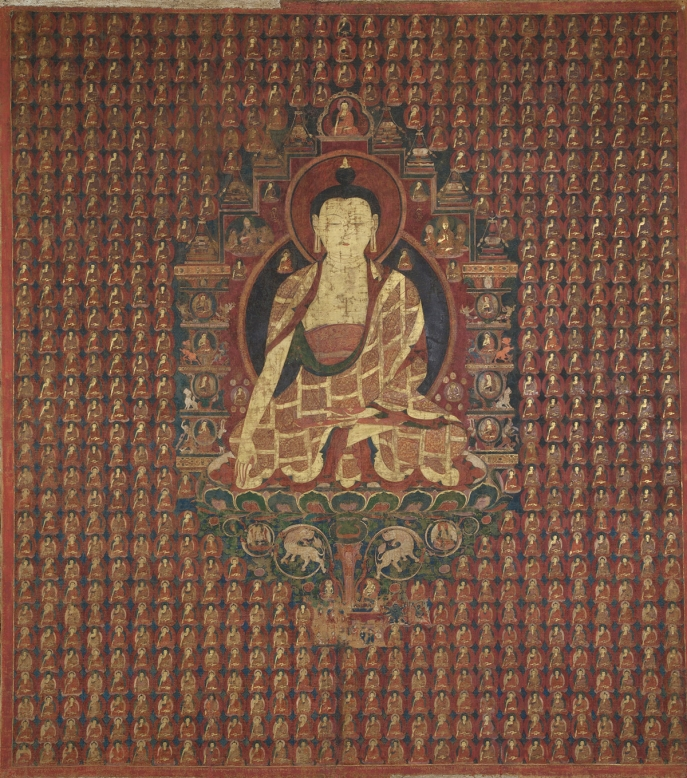 "Shakyamuni in the Bhadrakalpa. 15th century. Tholing, Ngari (West Tibet). Pigments on cloth. MU-CIV/MAO ""Giuseppe Tucci,"" inv. 992/825. Image courtesy of the Museum of Civilisation/Museum of Oriental Art ""Giuseppe Tucci,"" Rome."