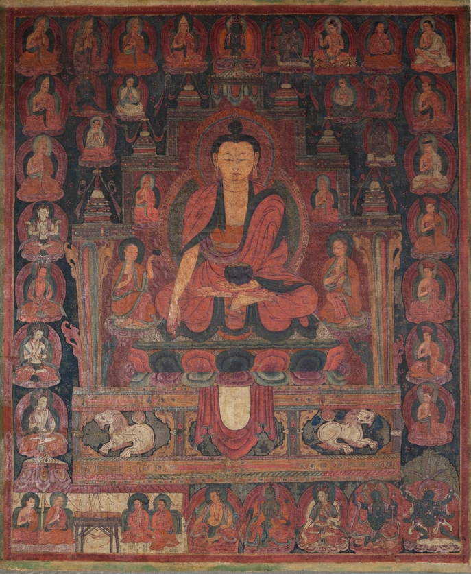 "Shakyamuni Buddha. 15th century. Ngari (West Tibet). Pigments on cloth. MU-CIV/MAO ""Giuseppe Tucci,"" inv. 963/796. Image courtesy of the Museum of Civilisation/Museum of Oriental Art ""Giuseppe Tucci,"" Rome."
