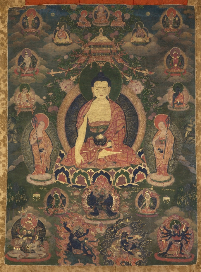 "Shakyamuni Buddha. 18th century. Tibet. Tradition: Gelug. Pigments on cloth. MU-CIV/MAO ""Giuseppe Tucci,"" inv. 970/803. Image courtesy of the Museum of Civilisation/Museum of Oriental Art ""Giuseppe Tucci,"" Rome."