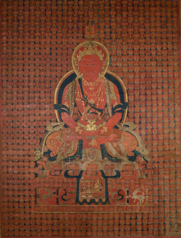 "Amitayus. Ca. 16th century. Tsaparang or Tholing, Ngari (West Tibet). Tradition: Gelug. Pigments on cloth. MU-CIV/MAO ""Giuseppe Tucci,"" inv. 1011/837. Gift of Oliviero and Marzia Corcos. Image courtesy of the Museum of Civilisation/Museum of Oriental Art ""Giuseppe Tucci,"" Rome."