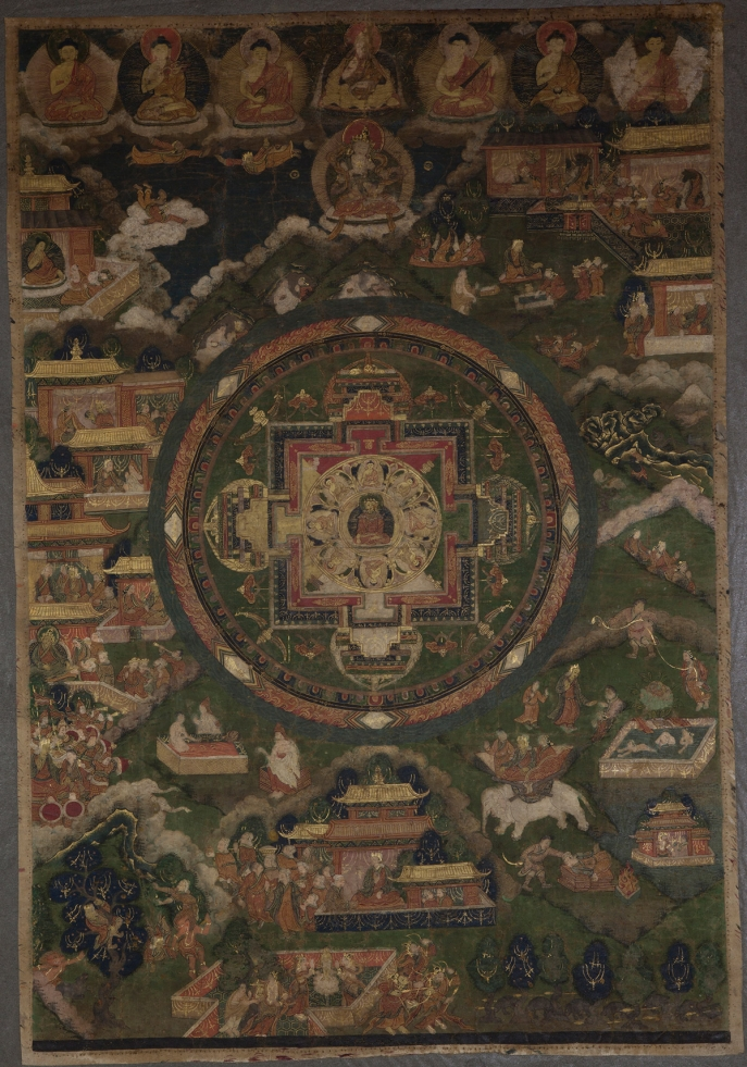 "Eight-Buddha Mandala and the Life of Tonpa Shenrab. 18th century. Tibet. Tradition: Bon. Pigments on cloth. MU-CIV/MAO ""Giuseppe Tucci,"" inv. 974/807. Image courtesy of the Museum of Civilisation/Museum of Oriental Art ""Giuseppe Tucci,"" Rome."