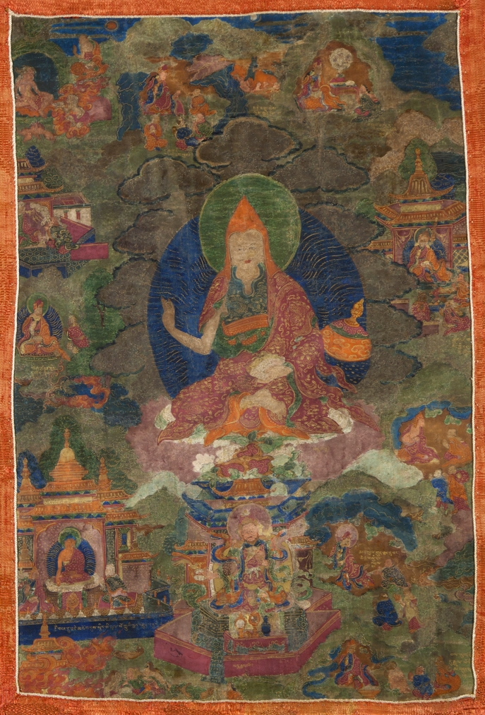 "Padmasambhava and the Teaching Activities of Guru Rinpoche. 18th century. U (Central Tibet). Tradition: Nyingma. Pigments on cloth. MU-CIV/MAO ""Giuseppe Tucci,"" inv. 917/750. Image courtesy of the Museum of Civilisation/Museum of Oriental Art ""Giuseppe Tucci,"" Rome."