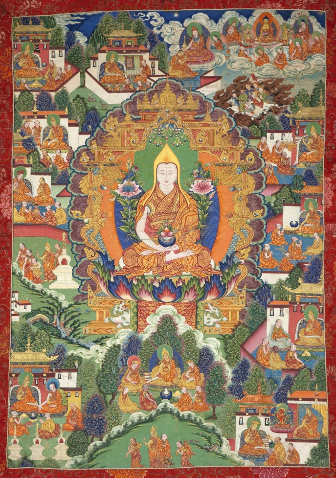 "Tsongkhapa and Scenes from His Life. 18th century. India. Tradition: Gelug. Pigments on cloth. MU-CIV/MAO ""Giuseppe Tucci,"" inv. 890/723. Image courtesy of the Museum of Civilisation/Museum of Oriental Art ""Giuseppe Tucci,"" Rome."