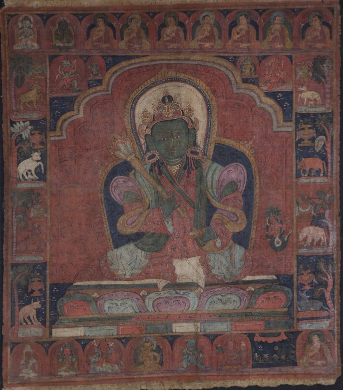 "Vaishravana. 14th century. Tsang (South-Central Tibet). Tradition: Sakya. Pigments on cloth. MU-CIV/MAO ""Giuseppe Tucci,"" inv. 965/798. Image courtesy of the Museum of Civilisation/Museum of Oriental Art ""Giuseppe Tucci,"" Rome."
