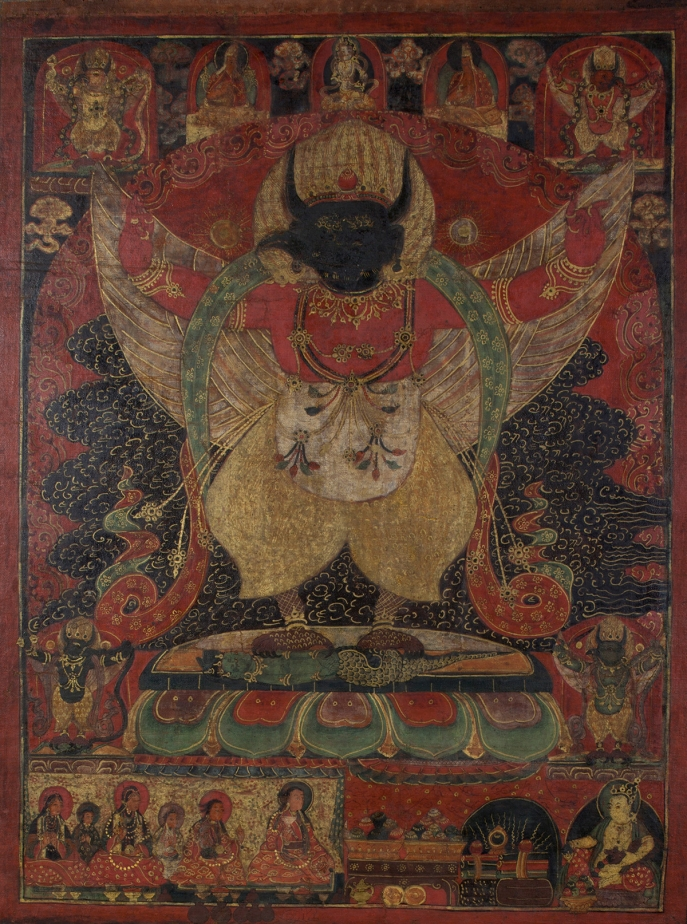 "Garuda. 16th century. Nako, Kinnaur, Himachal Pradesh, India. Tradition: Gelug. Pigments on cloth. MU-CIV/MAO ""Giuseppe Tucci,"" inv. 964/797. Image courtesy of the Museum of Civilisation/Museum of Oriental Art ""Giuseppe Tucci,"" Rome."