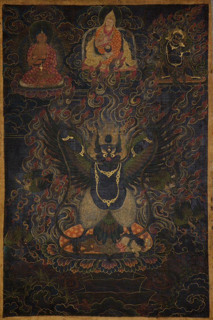 "Black Garuda. 18th century. U (Central Tibet). Tradition: Gelug. Pigments on cloth. MU-CIV/MAO ""Giuseppe Tucci,"" inv. 981/814. Image courtesy of the Museum of Civilisation/Museum of Oriental Art ""Giuseppe Tucci,"" Rome."