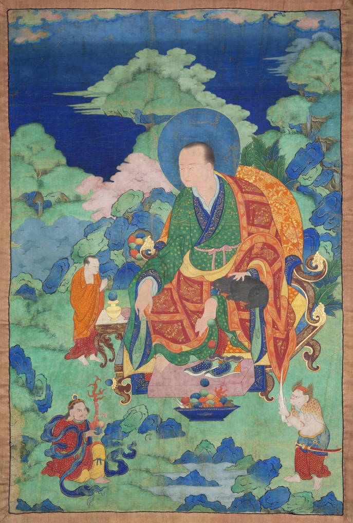 "Bakula Arhat. 17th century. Possibly Kham (East Tibet). Tradition: Gelug. Pigments on cloth. MU-CIV/MAO ""Giuseppe Tucci,"" inv. 928/761. Placement as indicated on verso: 2nd from right. Image courtesy of the Museum of Civilisation/Museum of Oriental Art ""Giuseppe Tucci,"" Rome."