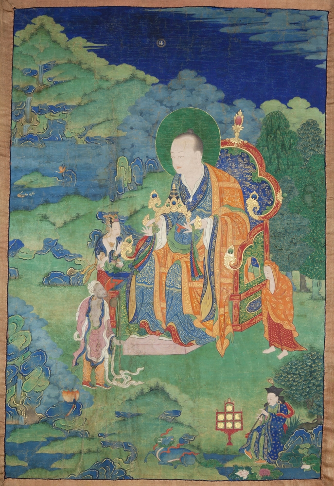 "Rahula Arhat. 17th century. Possibly Kham (East Tibet). Tradition: Gelug. Pigments on cloth. MU-CIV/MAO ""Giuseppe Tucci,"" inv. 929/762. Placement as indicated on verso: 1st from left. Image courtesy of the Museum of Civilisation/Museum of Oriental Art ""Giuseppe Tucci,"" Rome."