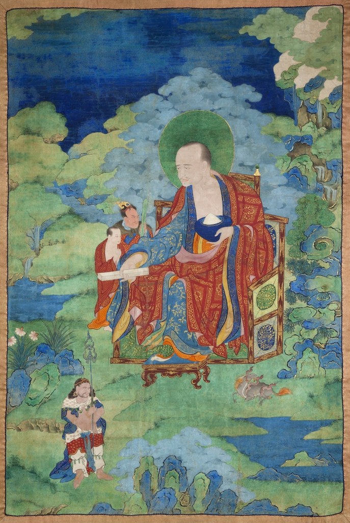 "Pindola Bharadvaja Arhat. 17th century. Possibly Kham (East Tibet). Tradition: Gelug. Pigments on cloth. MU-CIV/MAO ""Giuseppe Tucci,"" inv. 931/764. Placement as indicated on verso: 4th from left. Image courtesy of the Museum of Civilisation/Museum of Oriental Art ""Giuseppe Tucci,"" Rome."