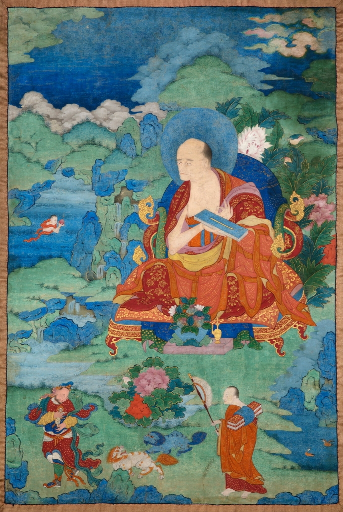 "Gopaka Arhat. 17th century. Possibly Kham (East Tibet). Tradition: Gelug. Pigments on cloth. MU-CIV/MAO ""Giuseppe Tucci,"" inv. 934/767. Placement as indicated on verso: 5th from left. Image courtesy of the Museum of Civilisation/Museum of Oriental Art ""Giuseppe Tucci,"" Rome."