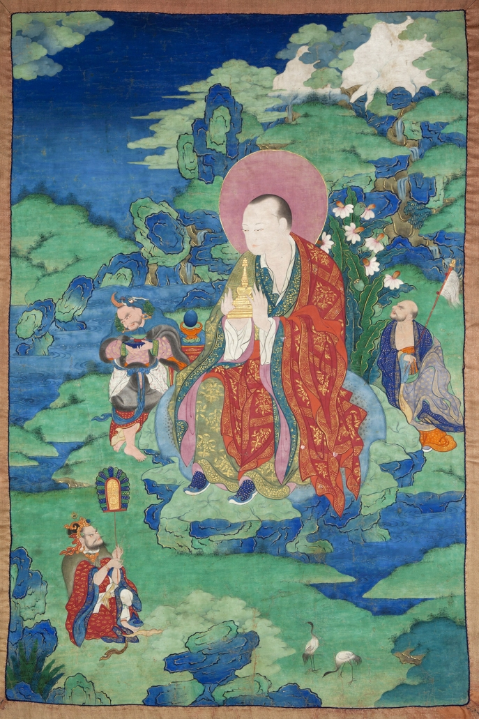 "Abheda Arhat. 17th century. Possibly Kham (East Tibet). Tradition: Gelug. Pigments on cloth. MU-CIV/MAO ""Giuseppe Tucci,"" inv. 935/798. Placement as indicated on verso: 8th from left. Image courtesy of the Museum of Civilisation/Museum of Oriental Art ""Giuseppe Tucci,"" Rome."