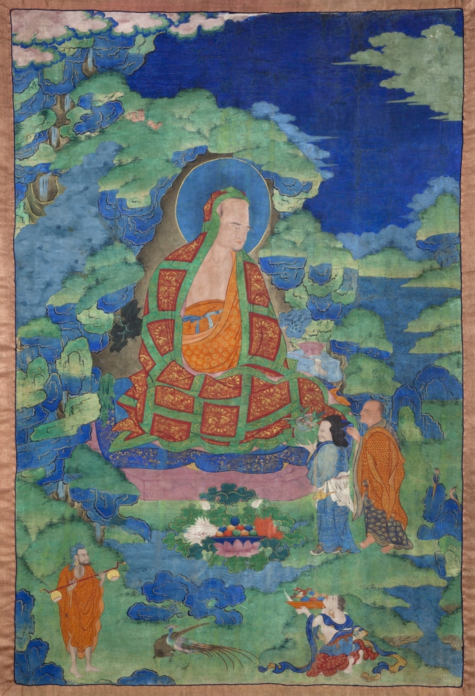 "Ajita Arhat. 17th century. Possibly Kham (East Tibet). Tradition: Gelug. Pigments on cloth. MU-CIV/MAO ""Giuseppe Tucci,"" inv. 923/756. Placement as indicated on verso: 2nd from right. Image courtesy of the Museum of Civilisation/Museum of Oriental Art ""Giuseppe Tucci,"" Rome."