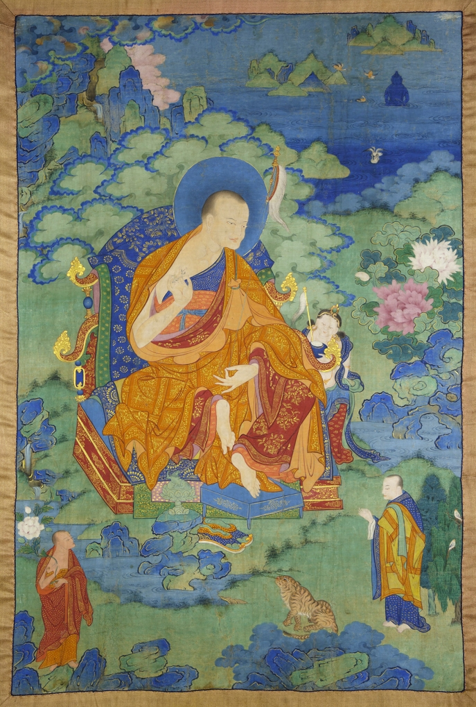 "Vanavasin Arhat. 17th century. Possibly Kham (East Tibet). Tradition: Gelug. Pigments on cloth. MU-CIV/MAO ""Giuseppe Tucci,"" inv. 924/757. Placement as indicated on verso: 5th from right. Image courtesy of the Museum of Civilisation/Museum of Oriental Art ""Giuseppe Tucci,"" Rome."