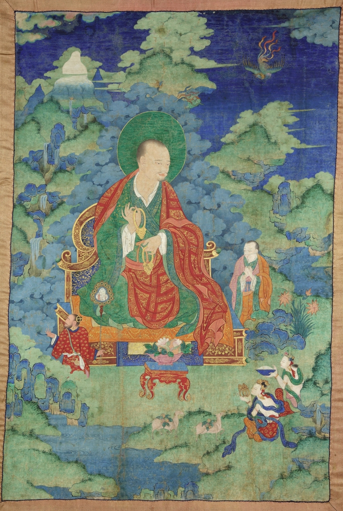 "Kalika Arhat. 17th century. Possibly Kham (East Tibet). Tradition: Gelug. Pigments on cloth. MU-CIV/MAO ""Giuseppe Tucci,"" inv. 925/758. Placement as indicated on verso: 4th from right. Image courtesy of the Museum of Civilisation/Museum of Oriental Art ""Giuseppe Tucci,"" Rome."