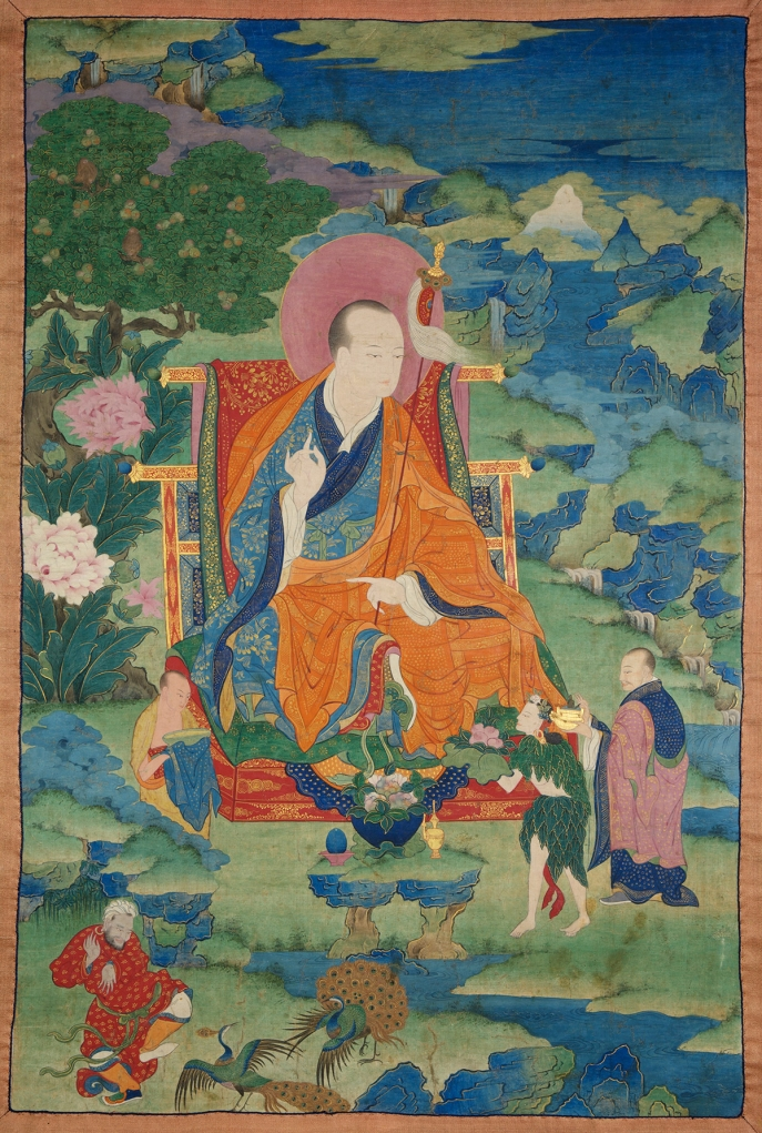 "Vajriputra Arhat. 17th century. Possibly Kham (East Tibet). Tradition: Gelug. Pigments on cloth. MU-CIV/MAO ""Giuseppe Tucci,"" inv. 926/759. Placement as indicated on verso: 3rd from right. Image courtesy of the Museum of Civilisation/Museum of Oriental Art ""Giuseppe Tucci,"" Rome."