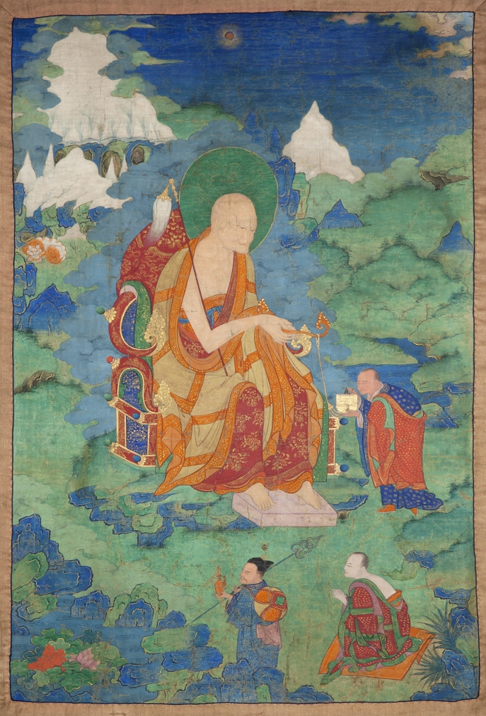 "Angaja Arhat. 17th century. Possibly Kham (East Tibet). Tradition: Gelug. Pigments on cloth. MU-CIV/MAO ""Giuseppe Tucci,"" inv. 998/830. Placement as indicated on verso: 1st from right. Image courtesy of the Museum of Civilisation/Museum of Oriental Art ""Giuseppe Tucci,"" Rome."