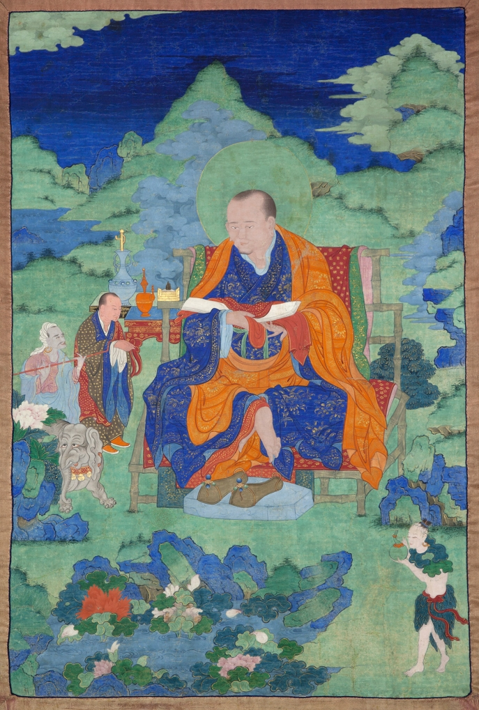 "Panthaka Arhat. 17th century. Possibly Kham (East Tibet). Tradition: Gelug. Pigments on cloth. MU-CIV/MAO ""Giuseppe Tucci,"" inv. 932/765. Placement as indicated on verso: 7th from left. Image courtesy of the Museum of Civilisation/Museum of Oriental Art ""Giuseppe Tucci,"" Rome."