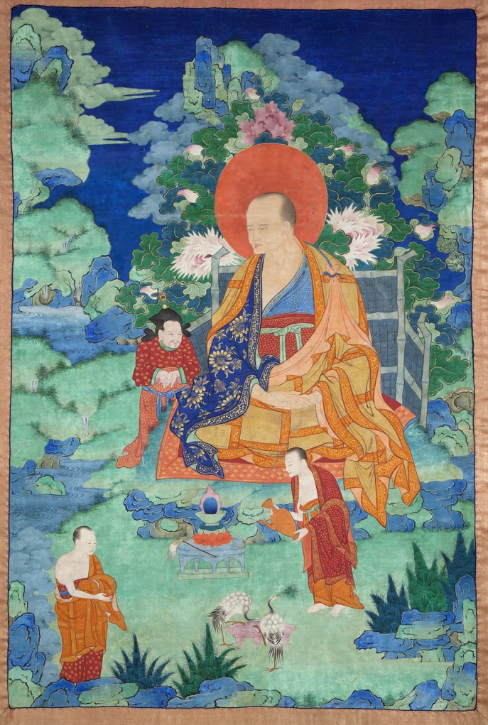 "Kanakabharadvaja Arhat. 17th century. Possibly Kham (East Tibet). Tradition: Gelug. Pigments on cloth. MU-CIV/MAO ""Giuseppe Tucci,"" inv. 927/760. Placement as indicated on verso: 3rd from left. Image courtesy of the Museum of Civilisation/Museum of Oriental Art ""Giuseppe Tucci,"" Rome."