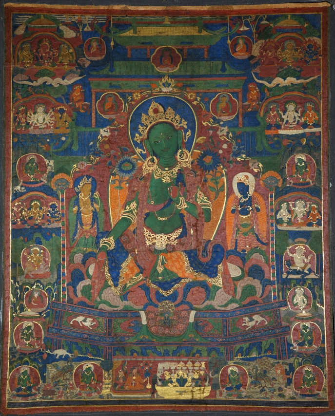 "Green Tara. 16th century. Tsang (South-Central Tibet) or U (Central Tibet). Pigments on cloth. MU-CIV/MAO ""Giuseppe Tucci,"" inv. 886/719. Image courtesy of the Museum of Civilisation/Museum of Oriental Art ""Giuseppe Tucci,"" Rome."