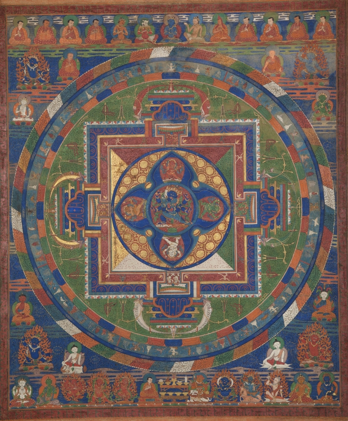 "Eighteen-Deity Mandala of Chagna Dorje. 16th-18th century. Tsang (South-Central Tibet). Pigments on cloth. Tradition: Sakya. MU-CIV/MAO ""Giuseppe Tucci,"" inv. 950/783. Image courtesy of the Museum of Civilisation/Museum of Oriental Art ""Giuseppe Tucci,"" Rome."