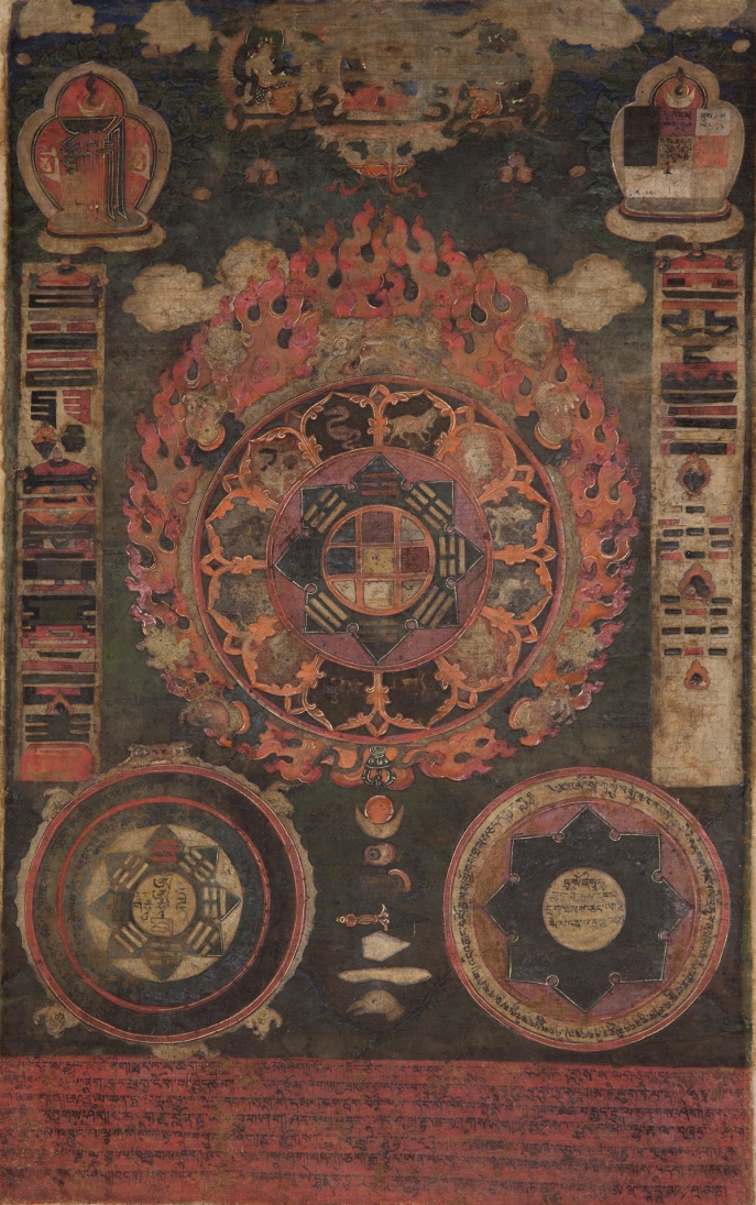 "Astrological/Divination Chart. 19th century. Tibet. Pigments on cloth. MU-CIV/MAO ""Giuseppe Tucci,"" inv. 982/815. Image courtesy of the Museum of Civilisation/Museum of Oriental Art ""Giuseppe Tucci,"" Rome."