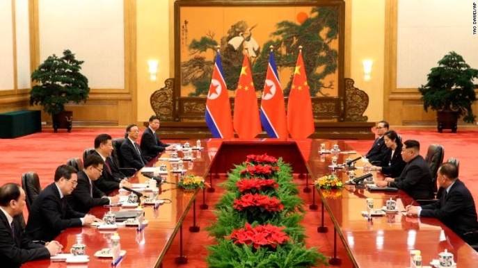 Xi Jinping and Kim Jong Un Delegation Meeting