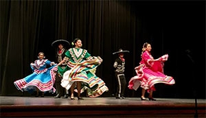 Members of Austin High School's Ballet Folklorico team perform at the 2018 International Studies Schools Network Summer Institute.