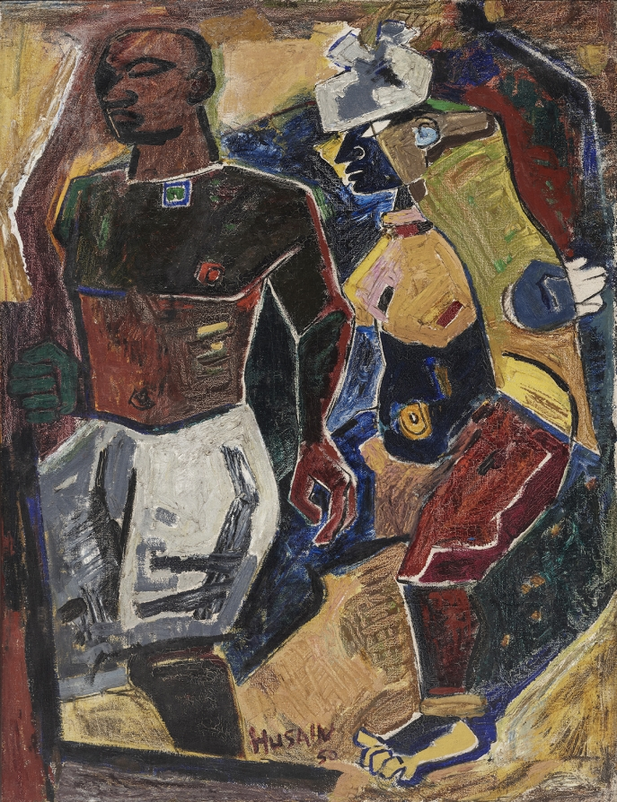 M. F. Husain. Peasant Couple, 1950. Oil on canvas. H. 47 1/2 x W. 36 1/2 in. (120.7 x 92.7 cm). Peabody Essex Museum, Gift of the Chester and Davida Herwitz Collection, 2003 E301169. Courtesy of Peabody Essex Museum, Salem, MA. Photography by Walter Silver