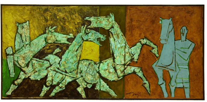 M. F. Husain. Sprinkling Horses, ca. 1975. Oil on canvas. H. 43 1/4 x W. 92 1/2 in. (109.9 x 235 cm). Anonymous. ©2011 Christie's Images Limited