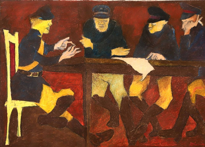 Krishen Khanna. 'The Game 1', early 1980s. Oil pastel on paper. H. 17 x W. 24 in. (43.2 x 61 cm). Dhoomimal Gallery. Image courtesy of Grosvenor Gallery