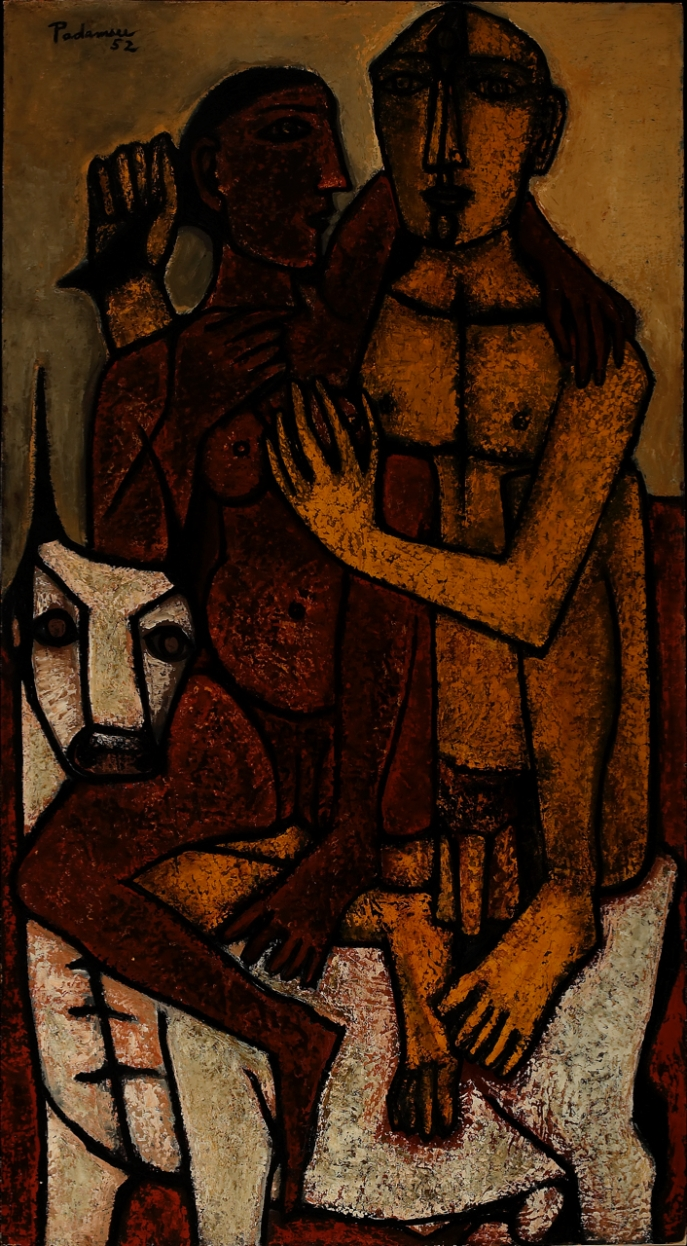 Akbar Padamsee. Lovers, 1952. Oil on board. H. 62 x W. 32 in. (157.5 x 81.3 cm). Collection Amrita Jhaveri. Courtesy of the lender