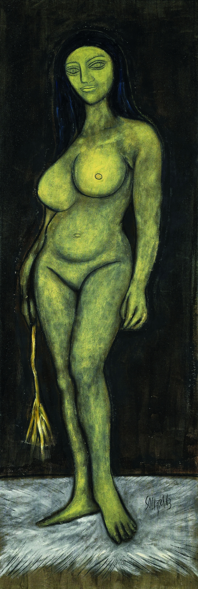 F. N. Souza. Girl with the Silken Whip, 1963. Oil on canvas. H. 68 1/2 x W. 23 5/8 in. (174 x 60 cm). Private collection, London. Courtesy of the lender