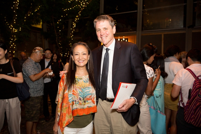 Whale of a Tale director Megumi Sasaki and Asia Society Executive Vice President Tom Nagorski at Asia Society New York, August 8, 2018