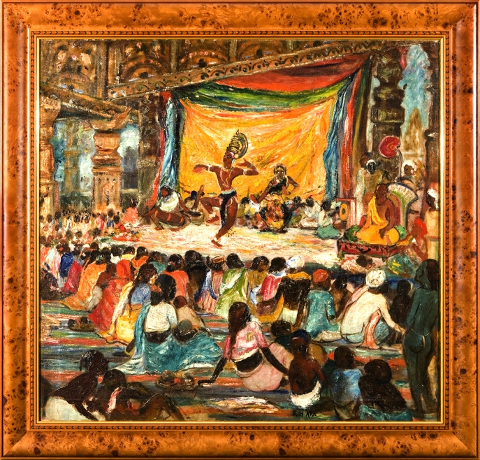 K. H. Ara. Bharata Natya, ca. 1945. Oil on canvas. H. 35 x W. 37 in. (88.9 x 94 cm). Rajiv and Payal Chaudhri Collection. Courtesy of the lender