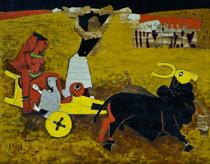 M. F. Husain. Yatra,1955. Oil on canvas. H. 33 1/2 x W. 42 1/2 in. (85.1 x 108 cm). Collection Kiran Nadar Museum of Art, New Delhi. Collection Kiran Nadar Museum of Art, New Delhi
