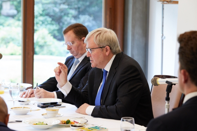 [L-R]  Christopher P. Wells and Kevin Rudd