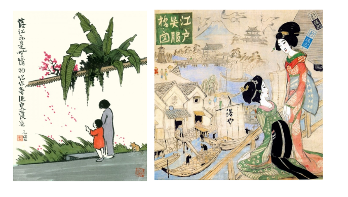 Falling Flowers by Feng Zikai (left), Kurofuneya by Takehisa Yumeji (right).