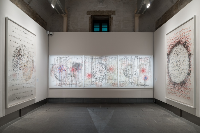 Installation view of Shahzia Sikander: Apparatus of Power.