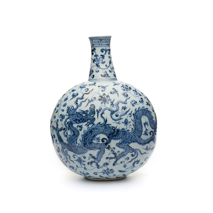 Flask. China, Jiangxi Province. Ming period, early 15th century (probably Yongle era, 1403–1424).