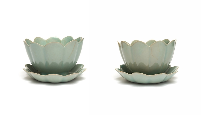 Foliate Bowl-and-Saucer Sets. Korea, South Cholla Province. Goryeo period, early 12th century.