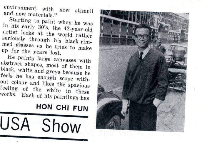 Clipping of Hon Chi-fun in New York City, 1970, publication unknown, courtesy of the artist.