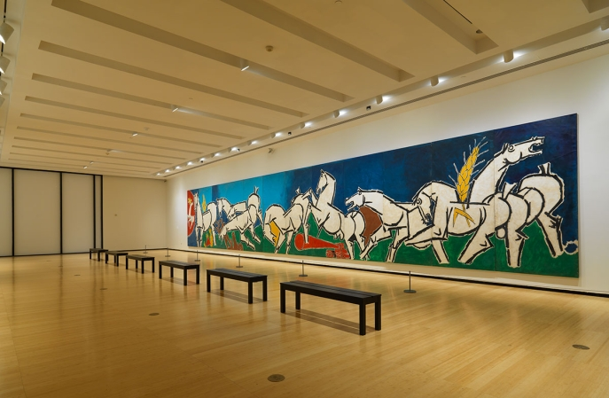 Installation View of M.F.Husain: Art and the Nation at Asia Society Museum, 2018. Photograph © Bruce M. White, 2019.